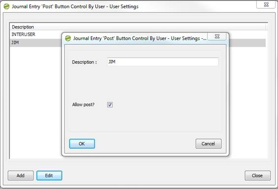 Journal Entry 'Post' Button Control By User