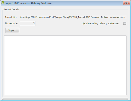 Enhancement Pack SOP Customer Delivery Addresses import