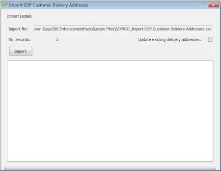 Enhancement Pack SOP Customer Delivery Addresses import