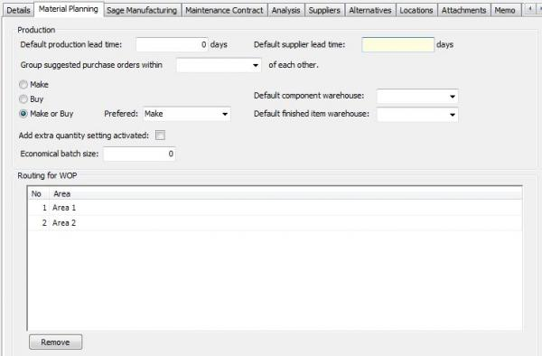 Make or buy setting are set on the stock item in stock control in the material planning tab