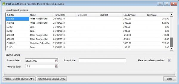Sicon Enhancement Pack Invoice Reversal Journal