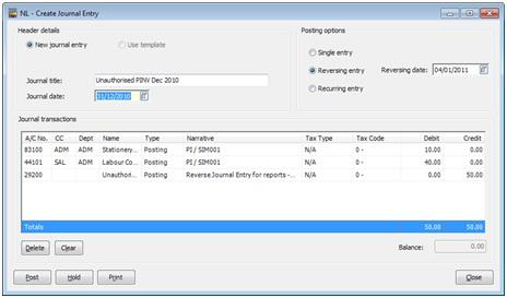 Sicon Enhancement Pack Invoice Reversal Journal