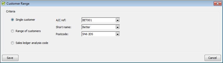 Sicon Enhancement Pack SOP Customer Range screen