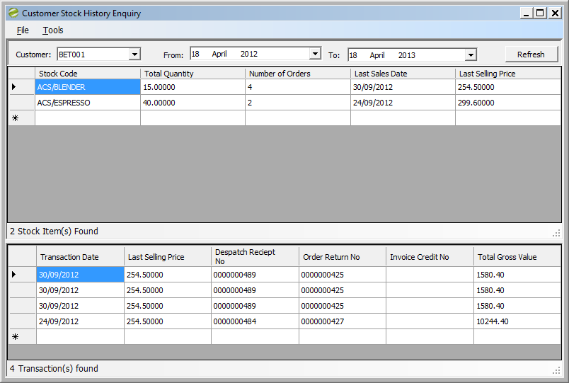 Sicon Enhancement Pack SOP Customer Stock History Enquiry