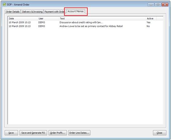 Sicon Enhancement Pack SOP dicplay customer memos on SOP