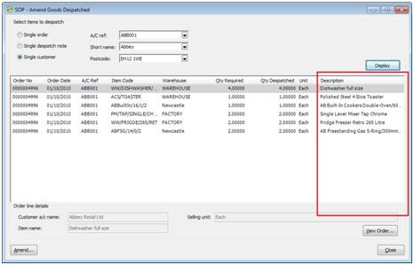 Sicon Enhancement Pack SOP show item description on despatch