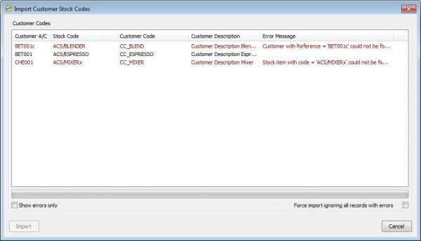 Sicon Enhancement Pack stock item customer codes 3