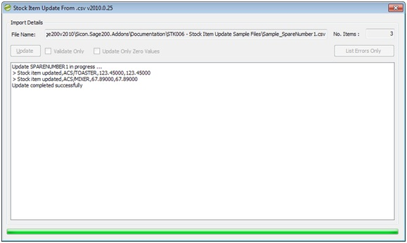 Sicon Enhancement Pack stock item update drom csv
