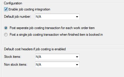 Sicon Works Order Processing Job Costing Tab