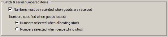 Sicon Works Order Processing Stock Control Settings