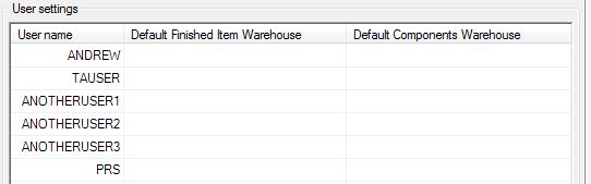 Sicon Works Order Processing Works Default User Settings Tab