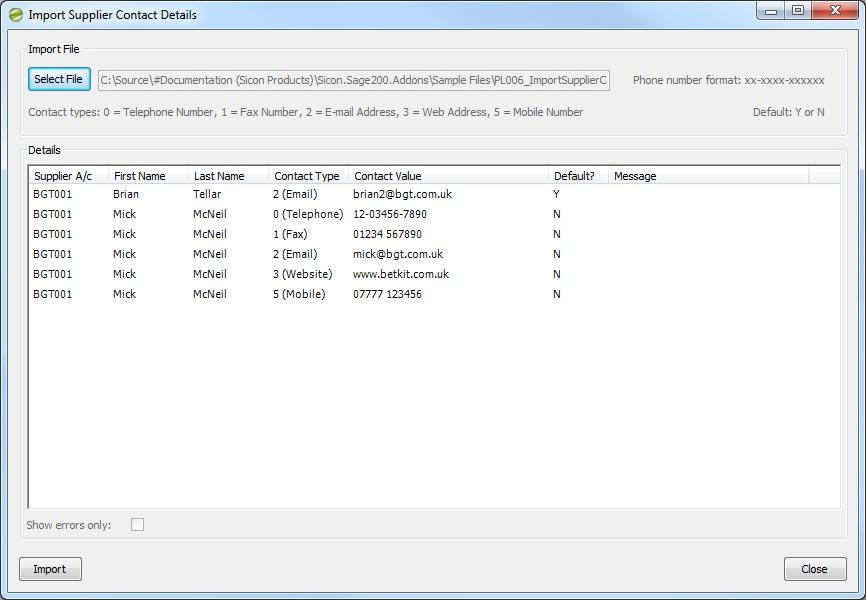 Sicon Enhancement Pack - Import Supplier Contact Details