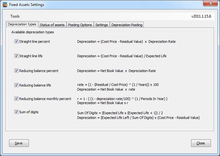 Fixed Assets Depreciation Types