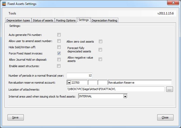 Fixed Assets Settings