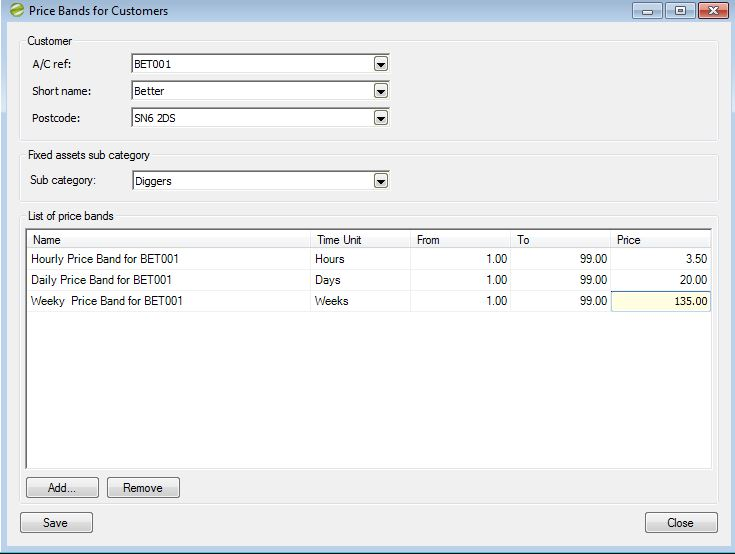 Hire Manager Price Bands for Customer