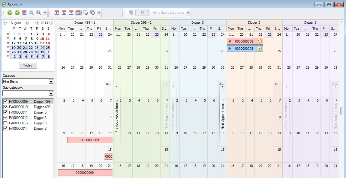 Hire Manager Diary Schedule 2