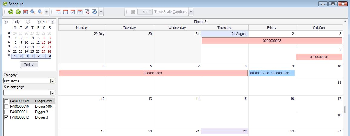 Hire Manager Diary Schedule