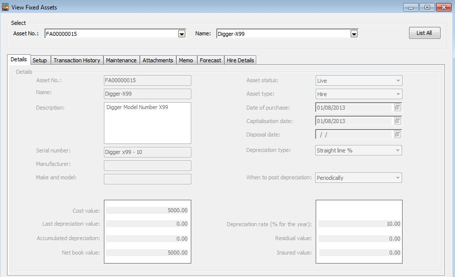 Hire Manager View Fixed Assets