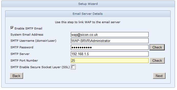 WAP Install - Email Server Details