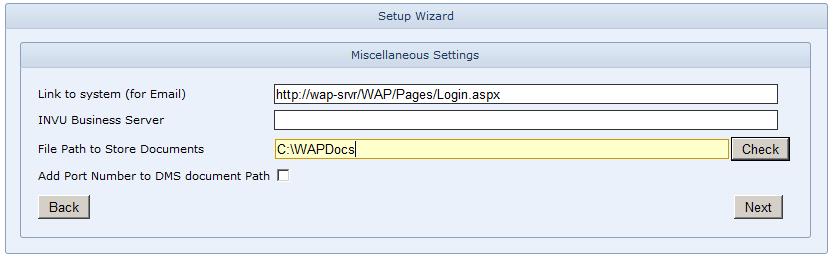 WAP Install - Misc settings