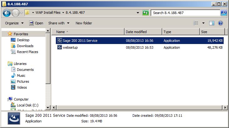 WAP Install - Sage 200 Service