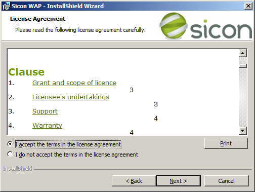 WAP Install - license