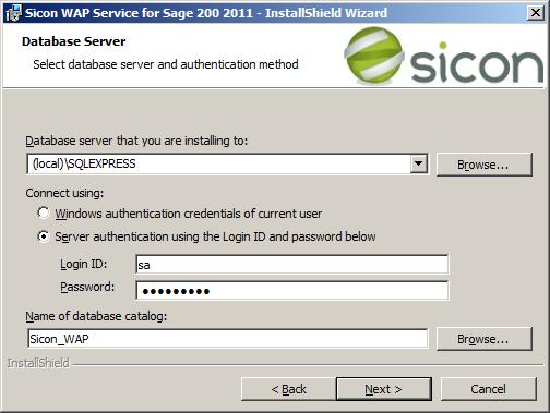 WAP Install - service SQL