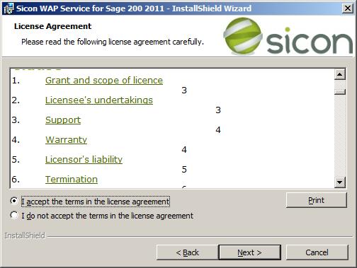 WAP Install - service license