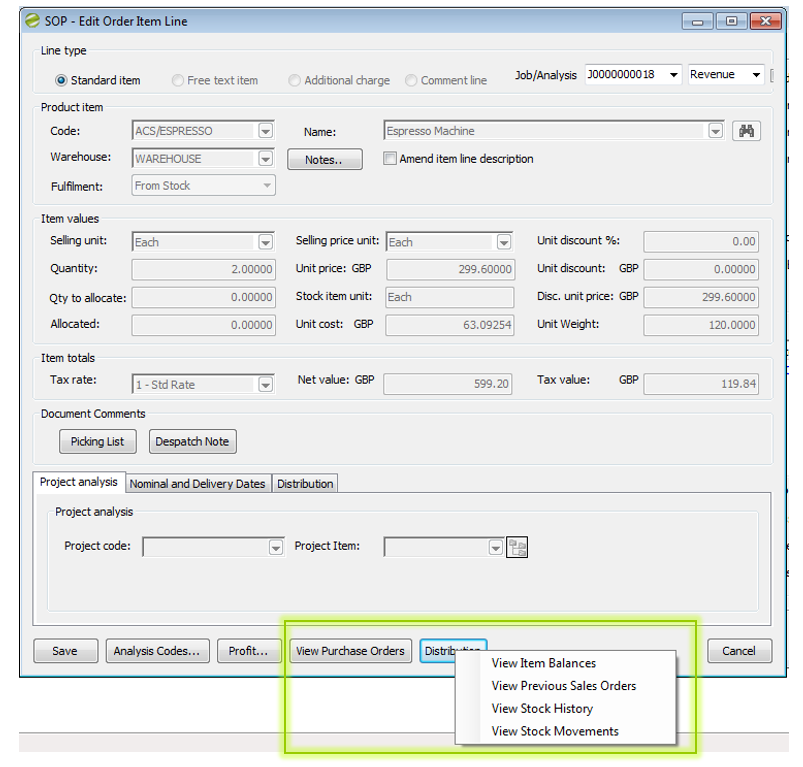 Distribution Manager Help and User Guide SOP - Edit Order Item Line