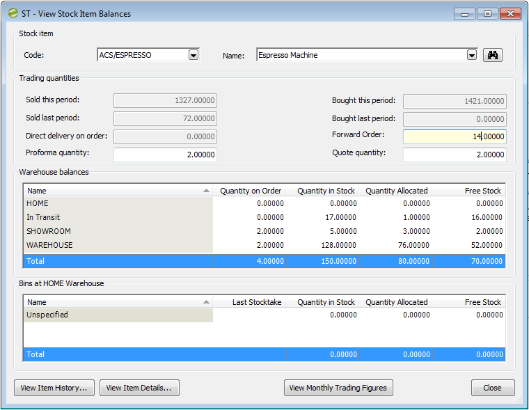 Distribution Manager Help and User ST - View Stock Item Balances
