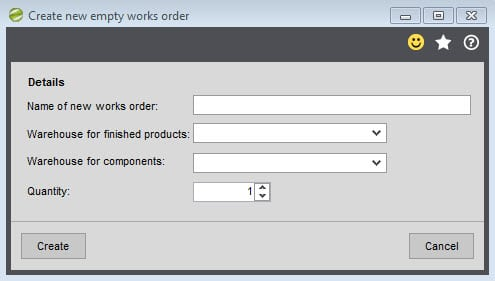 Sicon Works Order Processing Help and User Guide - New empty works order