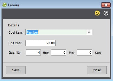 Sicon Works Order Processing Help and User Guide Editing Labour cost item