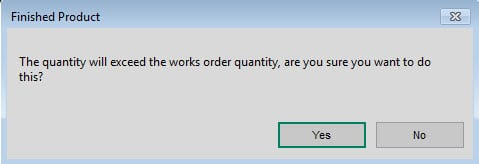 Sicon Works Order Processing Help and User Guide Extra finished items prompt