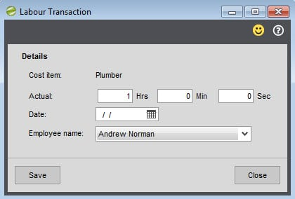 Sicon Works Order Processing Help and User Guide Labour transaction