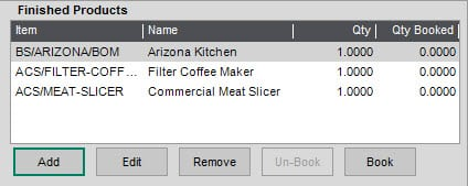 Sicon Works Order Processing Help and User Guide Multiple Finished items