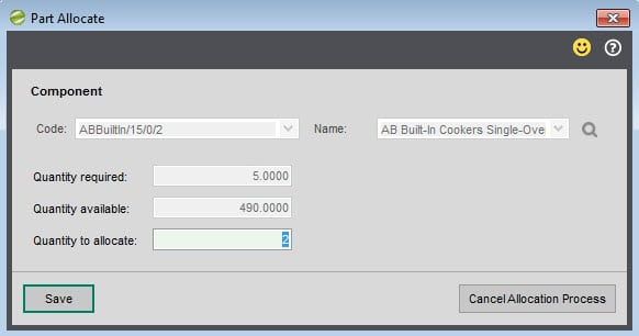 Sicon Works Order Processing Help and User Guide Part Allocate