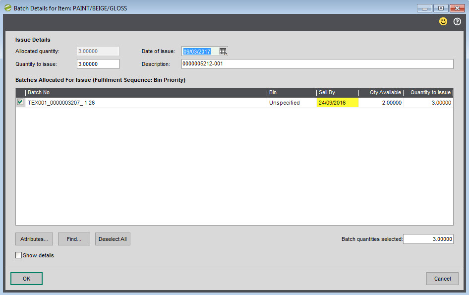 Sicon Works Order Processing Help and User Guide Traceable item issue