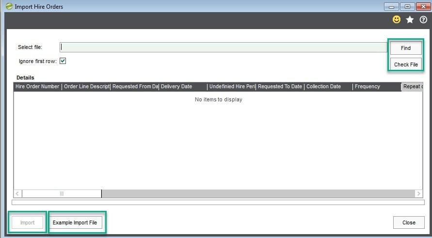 1. Hire Manager Import Hire Orders Screen