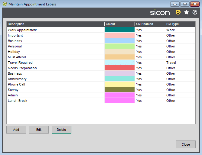1. Sicon Service Help and User Guide - Maintain Appointment Labels