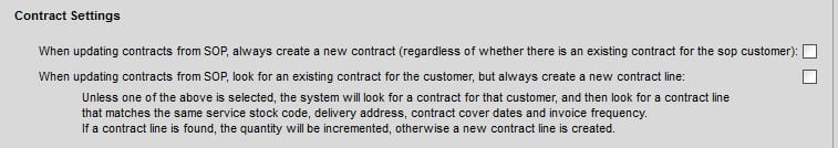 Sicon Contract Manager Help and User Guide 1.1 Contract Setting Tab on Service Stock Item