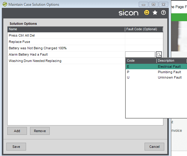 10. Sicon Service Help and User Guide - Maintain Case Solution Options