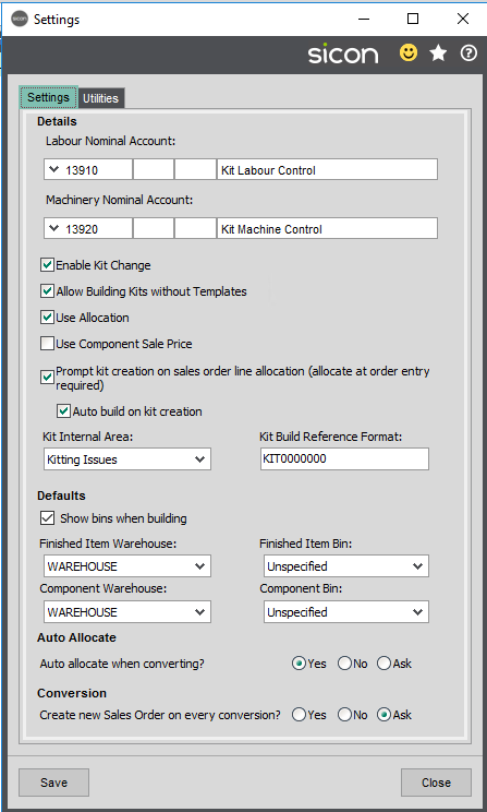 Sicon Kitting Help and User Guide - Settings Picture