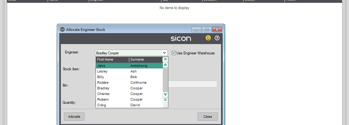 100. Sicon Service Help and User Guide - Add Parts to Case from Engineer Warehouse