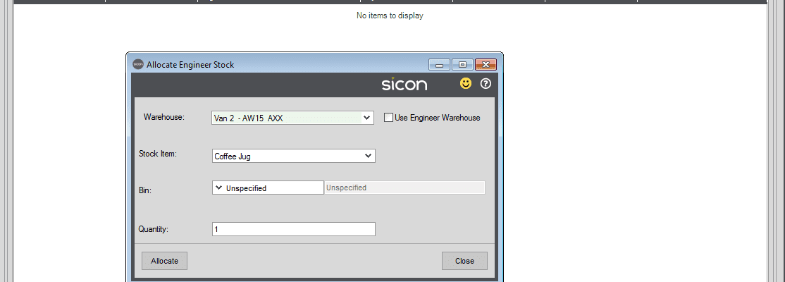 101. Sicon Service Help and User Guide - Add Parts to Case from Engineer Warehouse