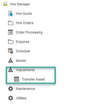 Fixed Asset record Transfer Asset between warehouse