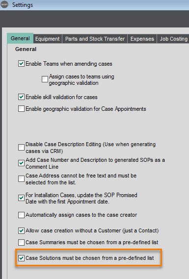 11. Sicon Service Help and User Guide - Maintain Case Solution Options 2