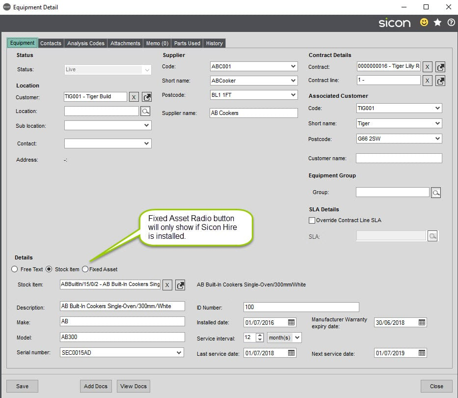 Sicon Service Help and User Guide - 11.1 Equipment Details screen 1