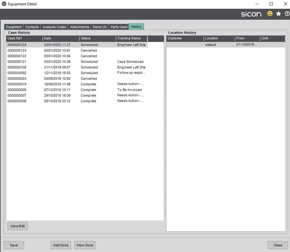 Sicon Service Help and User Guide - 11.7 Equipment History tab