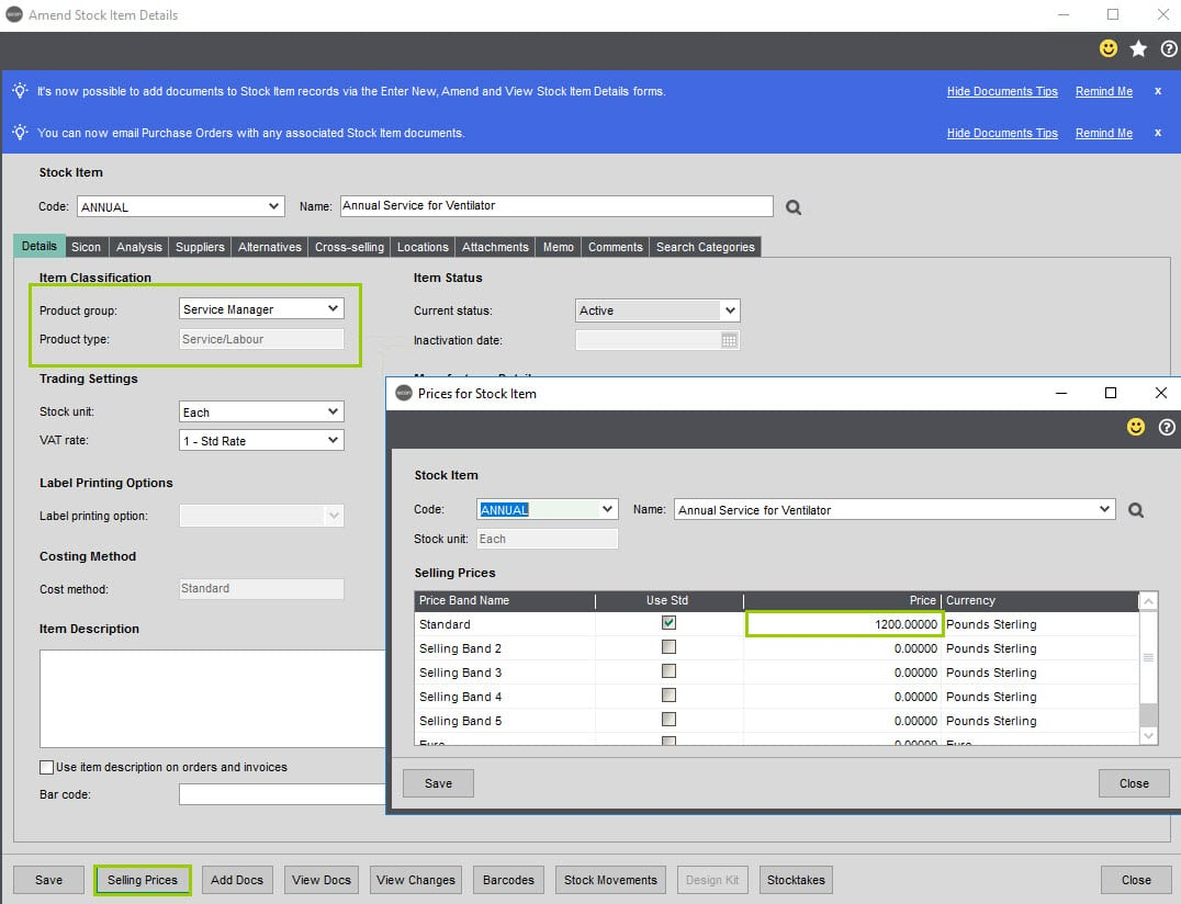 Sicon Service Help and User Guide - 11.8.1 screen 2