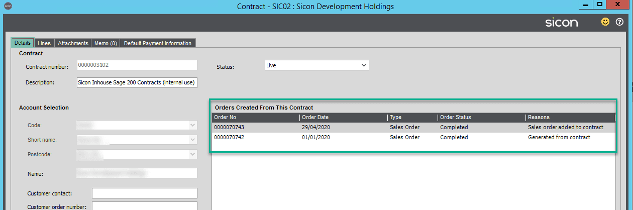 Sicon Contracts Help and User Guide - sales order added or generated within contract